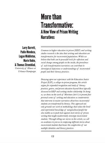 "Screencap of the first page of ""More than Transformative: A New View of Prison Writing Narratives"" by Larry Barrett, Pablo Mendoza, Logan Middleton, Mario Rubio, and Thomas Stromblad"