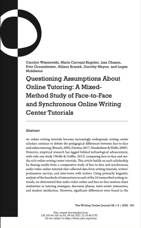 """Screencapped front page of """"Questioning Assumptions about Online Tutoring: A Mixed-Method Study of Face-to-Face and Synchronous Online Writing Center Tutorials,"""" a Writing Center Journal article"""